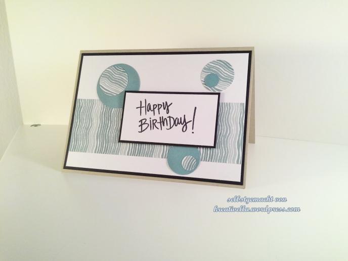 Happy Birthday Karte zum Geburtstag für Männer gemacht mit dem DesignerPapier Mondschein (moonlight) von stampin' up!