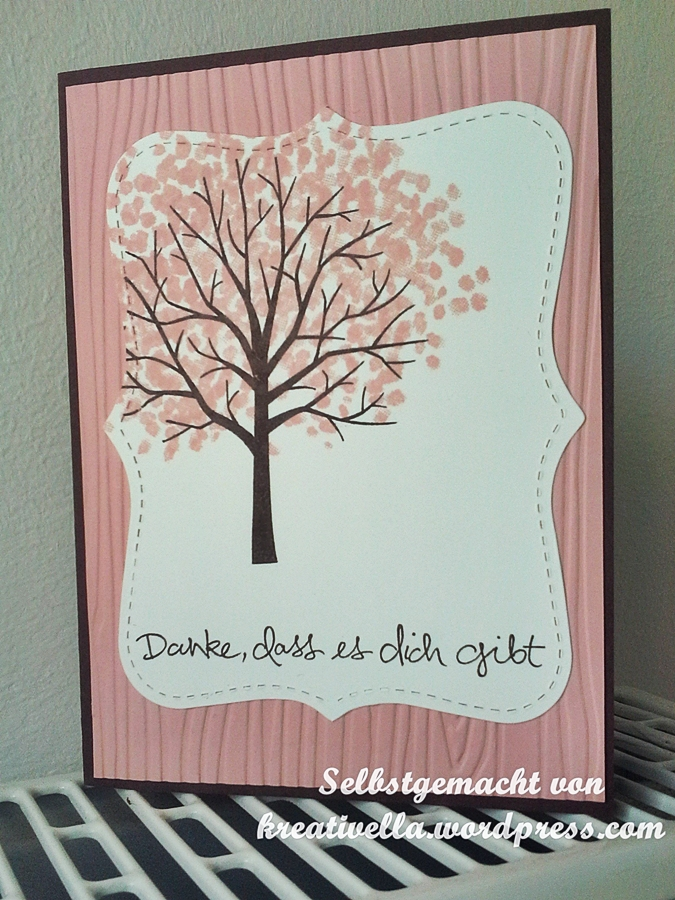 Baum der Freundschaft Stampin' Uo! Workshop bei Marionstempelt Karte mit Prägefolder Holzmaserung
