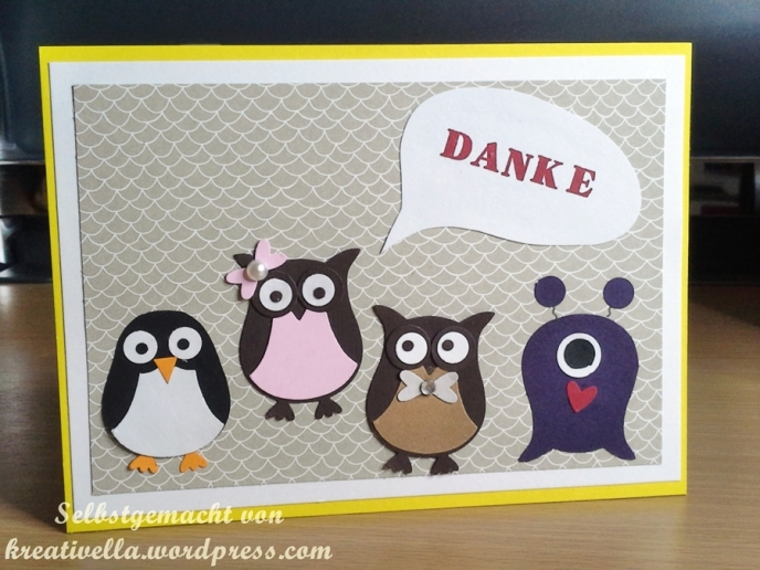 Dankeskarte Rasselbande Eulen Pinguin Monster aus der Elementstanze Eule Eulenstanze owl punch Stampin' Up!