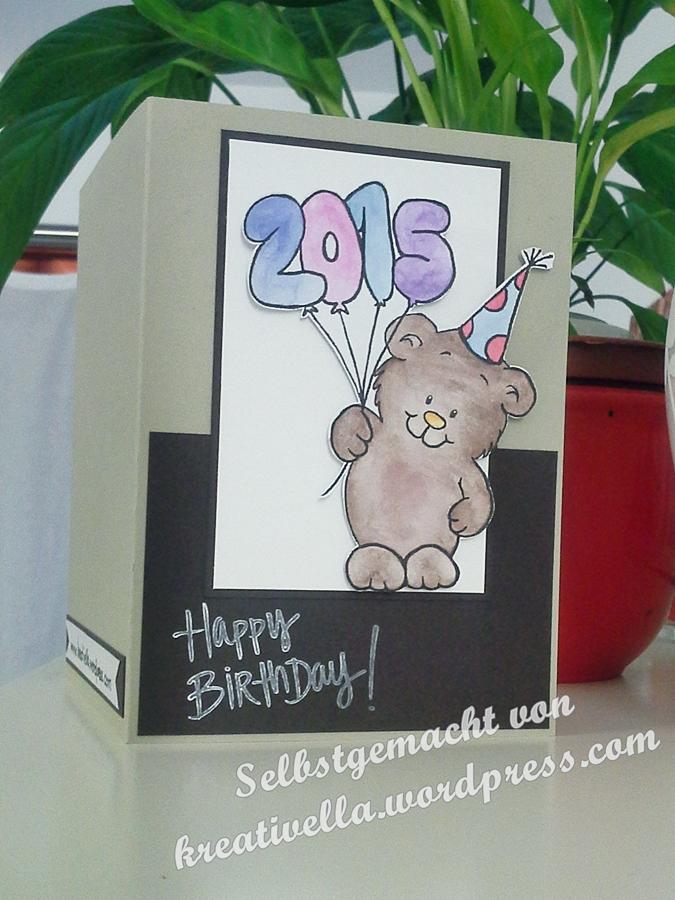 Geburtstagskarte Bär mit happy Birthday stempel von Depot und Luftballons digistamp freebie