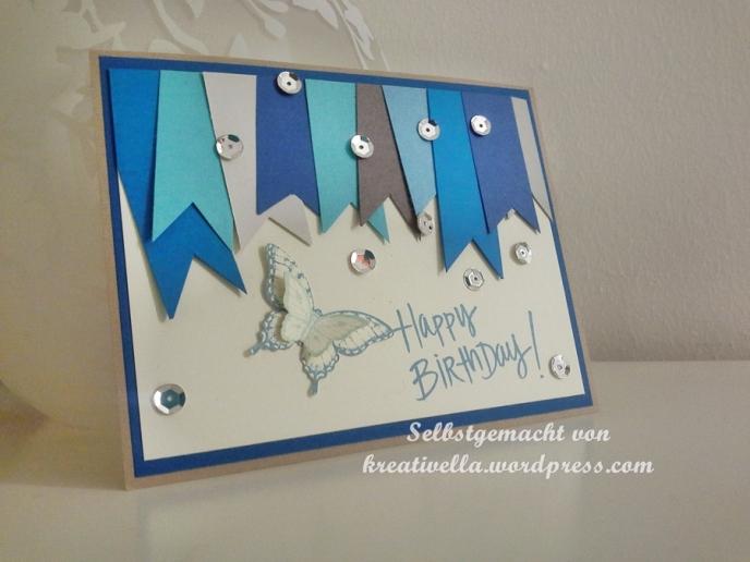 selbstgemacht kreativ DIY Karte Card Geburtstag Birthday Glückwunsch Stampin' Up! Ice Age Papillon Potpourri Fähnchen Banner Eiszapfen