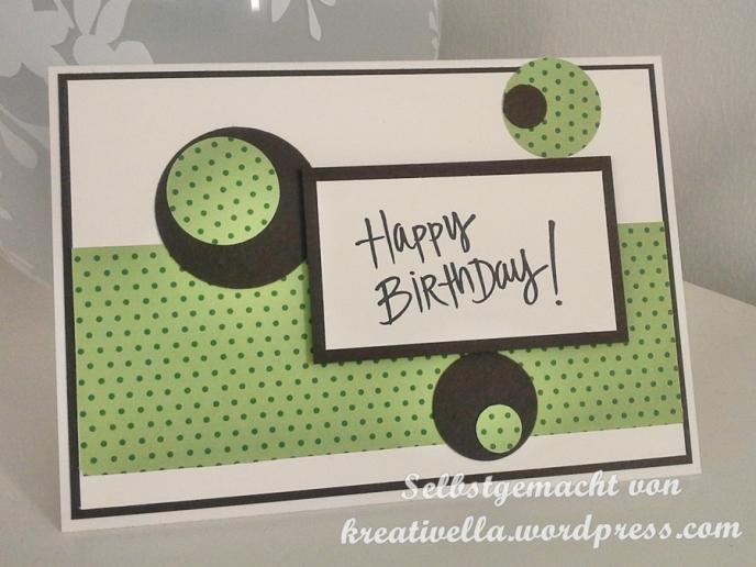 Geburtstagskarte mit Kreisen DSP grüne Punkte Happy Birthday stempel von Depot nach Idee von Stempelmami Nadine