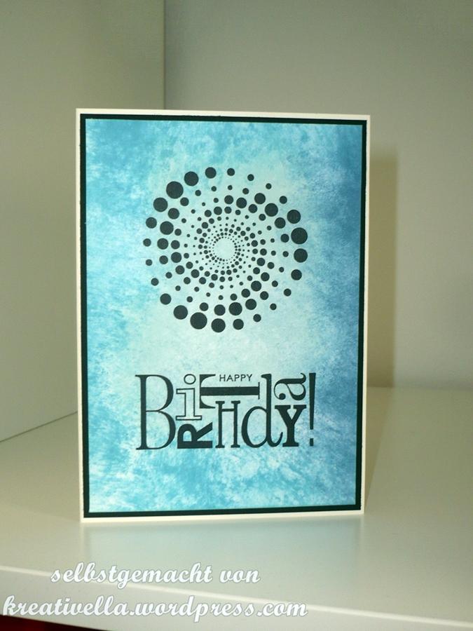 Geburtstagskarte Stampin' Up! blau selbstgemachter Hintergrund gewischt mit Distress Inks