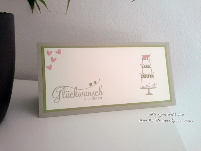 Hochzeitskarte Farbgrün Saharasand und Vanille mit dem Stempelset Perfekter Tag von Stampin' Up!