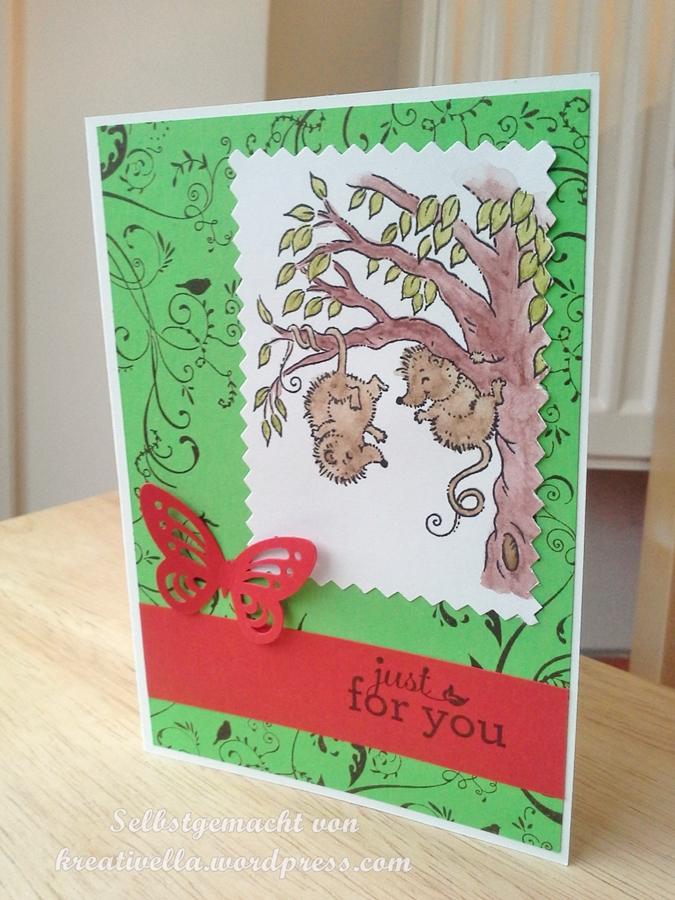 Just for you Karte Card mit Schmetterling und Opossum Pals von Stampavie coloriert mit Aquarellstiften und AquaPainter