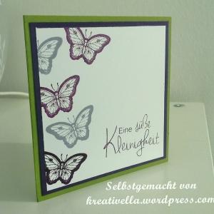 kleine Karte mit Schmetterlingen von Stampin' Up! Papillon Potpourri und Stempelset von efco süße Kleinigkeit
