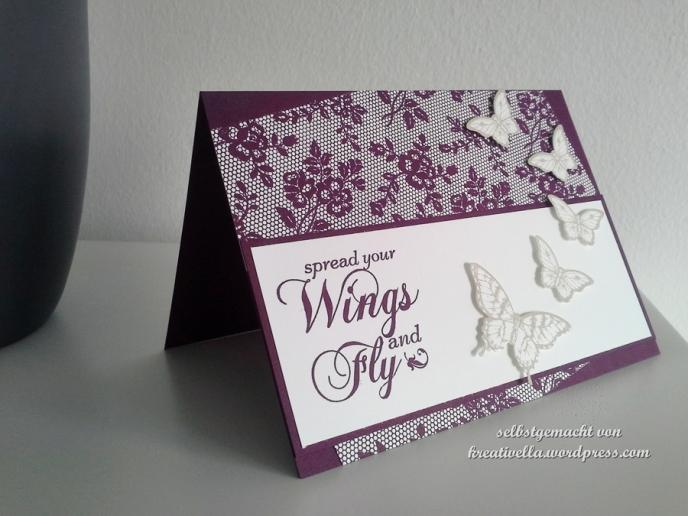 Konformationskarte Glückwunschkarte zur Konformation mit Spitze I love lace und Schmetterlingen Papillon Potpurri und Handstanze kleiner Schmetterling eleganter Schmetterling von Stampin' Up!