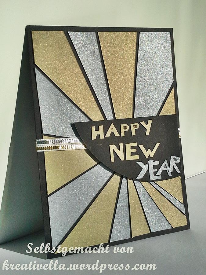 Neujahrskarte happy new year von der mach was draus challenge in silber gold und schwarz