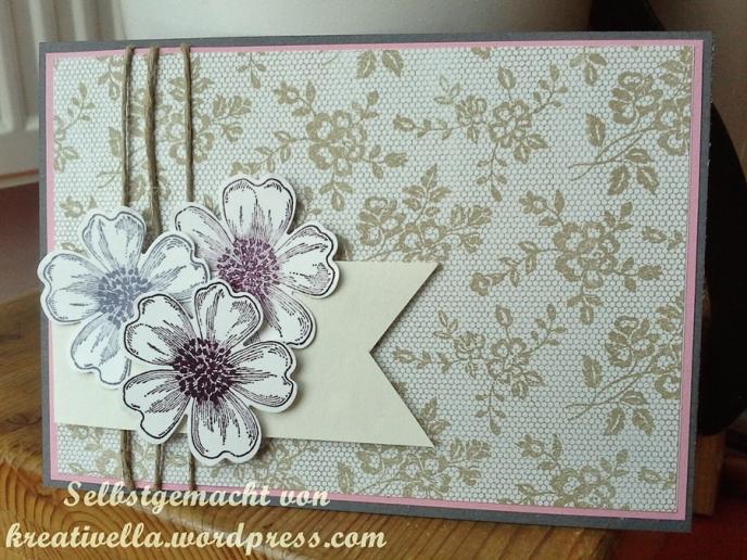 romantische Blumekarte mit I love lace Spitze und Blumen aus dem Flowershop von Stamin' Up! mit Banner und Leinenfaden