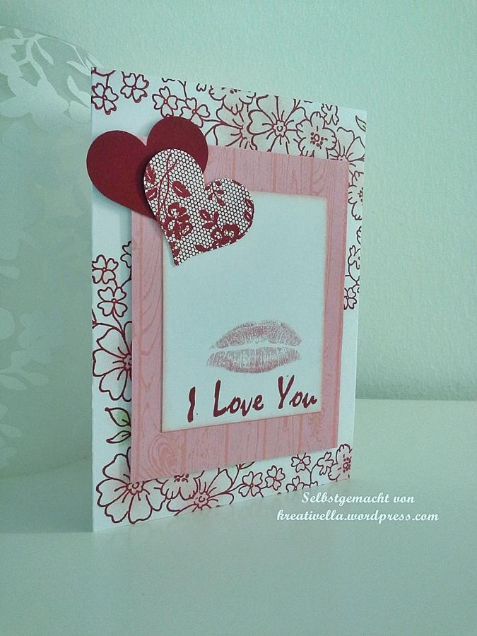 Valentinskarte I love you mit Herzen Blumen und I love lace von Stampin Up