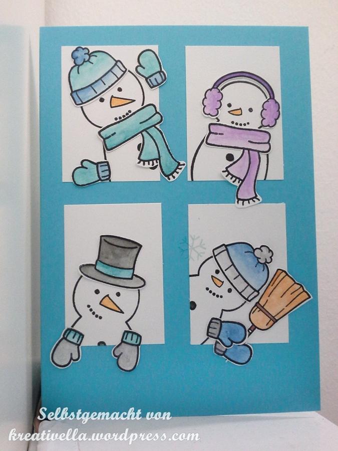 Frosty friends lawn fawn Karte mit lustigen Schneemännern coloriert mit Aquarellstiften