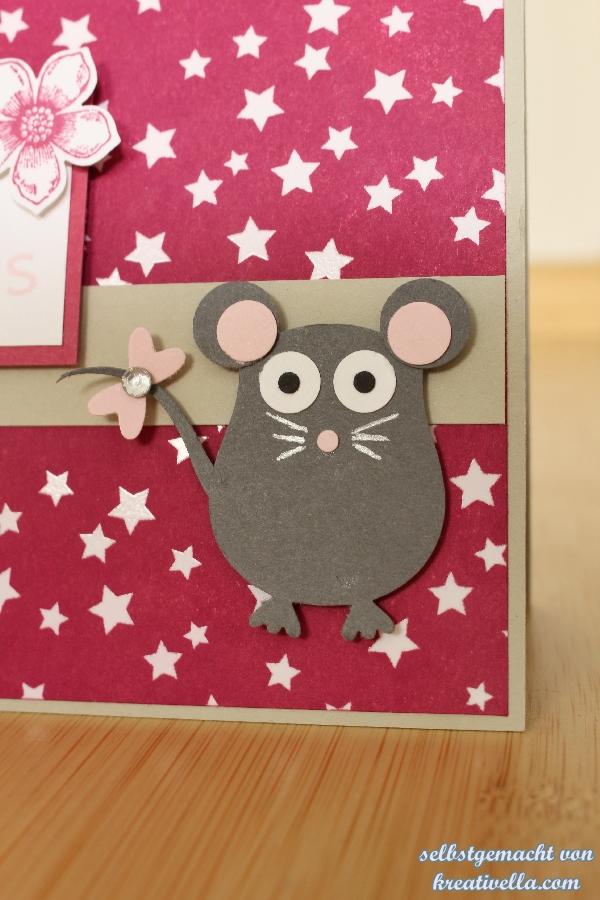Mäuse Babykarte mit Maus in Rosenrot mit dem eingefärbten DSP