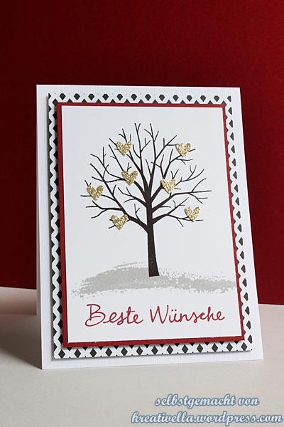 Karte mit besten Wuenschen mit dem Baum der Fruendschaft von Stampin' Up!