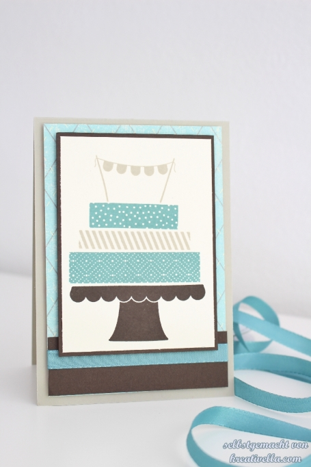 Build a birthday Cake Karte Lagunenblau Stampin Up
