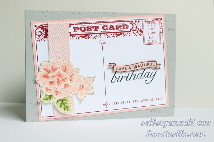 Geburtstagskarte Postkarte Blume vintage