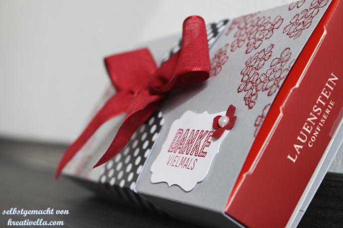 Tausend Dank Dankeschön liebevoll verpackt selbstgemacht Pralinen Lauenstein Banderole Stampin' Up!