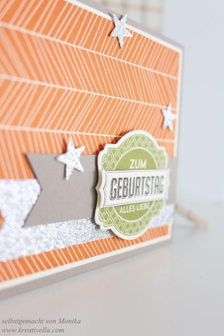 männliche Geburtstagskarte Halloween Designerpapier DSP Stampin' Up! München orange Glitzer schlicht Sterne Framelits Etikettenkunst Ach du meine Grüße