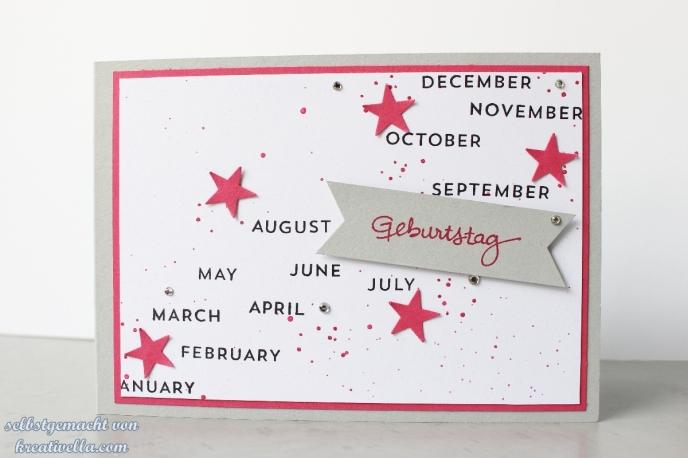 Geburtstag Karte selbstgebastelt gestempelt Kalender Perpetual Birthday Calendar Set Sterne rosenrot München Stampin' Up!