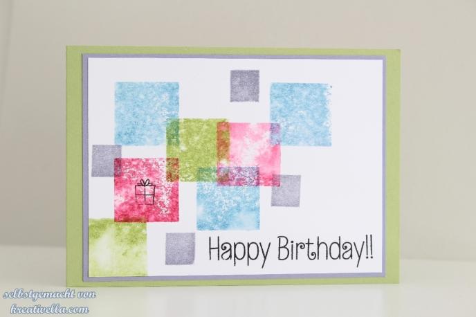 Schnelle einfache Karte schlicht Acrylblock stempeln bunt Quadrate flink