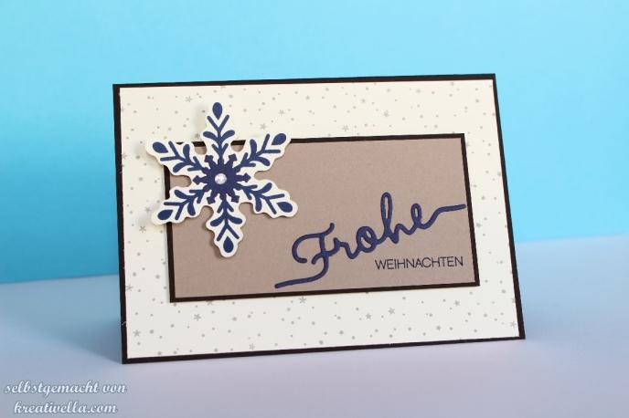 Winterliche Weihnachtsworte Thinlits Weihnachtliche Worte Grüße Stampin' Up! Einfache schlichte Weihnachtskarte Blau Vanille