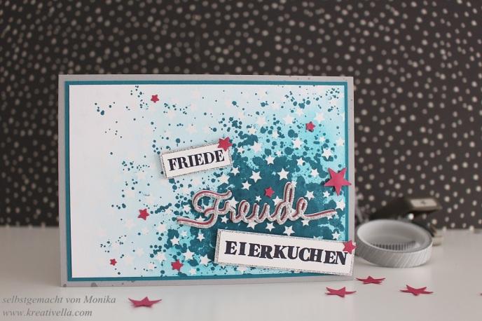 Challenge Wortspiele Family and friends verrückte bunte Karte Friede Freude Eierkuchen Spielerei Wortstempel