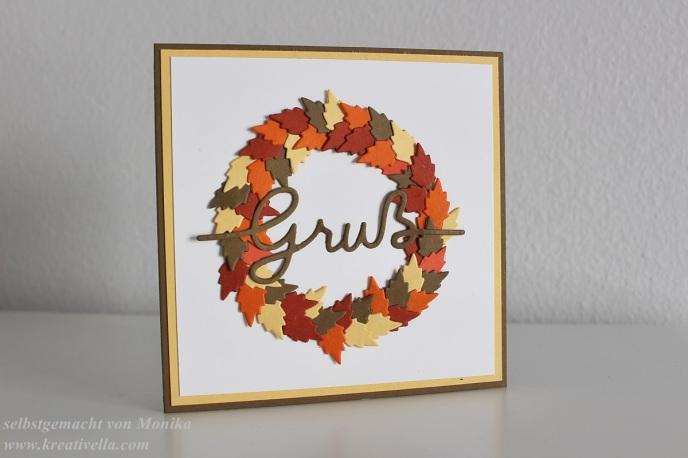 Herbstliche Minikarte mit Blätterkranz und liebem Gruß Stampin' Up! Pillowbox Weihnachtliche Worte