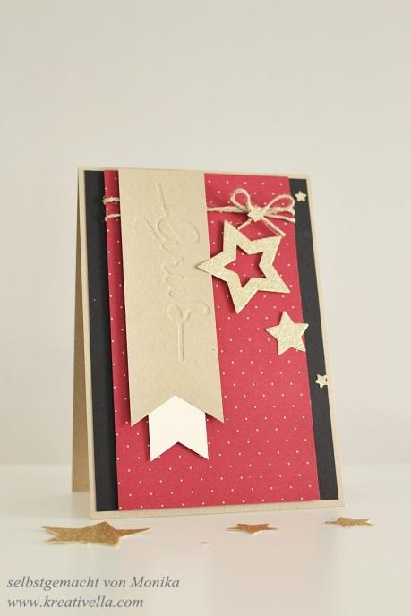 Weihnachtskarte mit geprägtem Gruß Embossingfolder selbstgemacht aus Stanzteil und Negativ schnell und einfach mit Stampin' Up! München