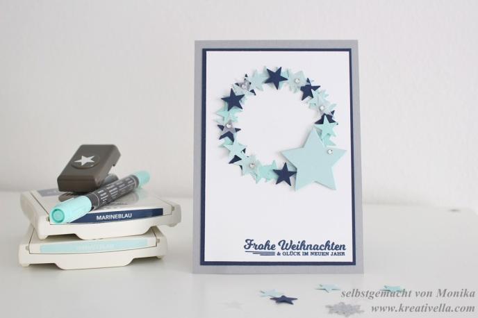 Weihnachtskarte Sterne blau weiß Kranz Schöne Feiertage selbstgemacht DIY Stampin' Up! München