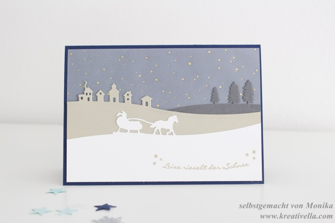Weihnachtskarte Edgelits Schlittenfahrt Sleigh Ride Christmas Card Stampin' Up! München Workshop edel klassisch DIY