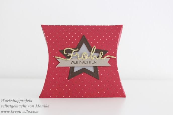 Workshop Pillowbox klassische Weihnachtsfarben Rot Gold Stern DSP Fröhliche Feiertage
