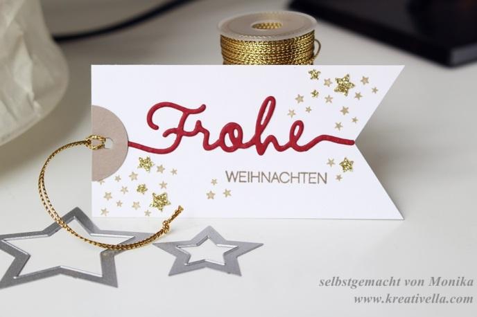 Geschenkanhänger Weihnachten Tag Etikett Frohe Weihnachten selbstgemacht DIY Stampin' Up! Weihnachtliche Worte