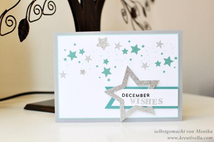 Winterkarte Weihnachtskarte kalte Farben Sterne Perpetual Birthday Calendar Dezemberträume Decemberwishes Wünsche Stampin' Up!