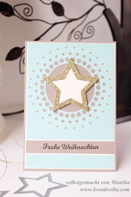 Weihnachtskarte Sterne Memory Box Large Circle Burst Designerpapier Stampin' Up! 2015