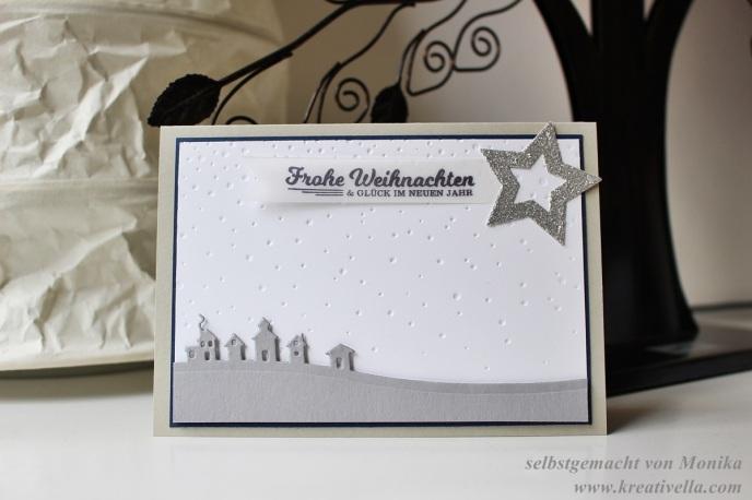 Weihnachtskarte Edgelits Schlittenfahrt Sleighride Schöne Feiertage Stempelset Sterne Pägefolder Leise rieselt selbstgemacht Workshop München