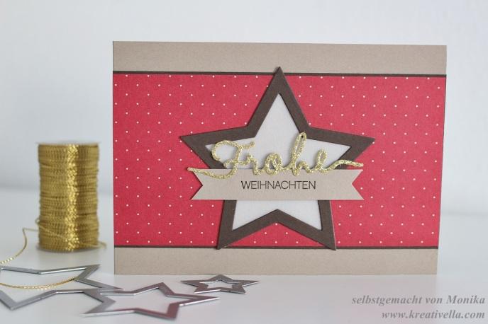 Weihnachtskarte Sterne DSP im Block Fröhliche Feiertage DIY selbstgemacht Thinlits Weihnachtliche Worte Stampin' Up!