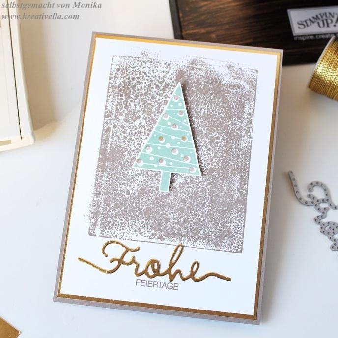 Weihnachtskarte Goldfolie clean simple taupe edel schlicht tannenbaum weihnachtliche worte gold foil selbstgemacht diy easy christmas card stampin' Up!