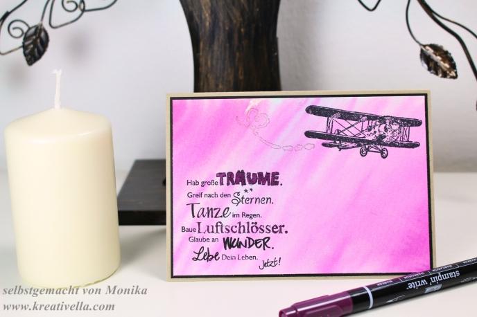 Mädchenkarte rosa pink Glitzer Sale a bration SaB Produkt hoch hinaus Wink of stella glitzerstift Aquarell hintergrund Stampin' Up! 2016 Greif nach den Sternen toller Spruch genial süß Mädchen Lillifee Flugzeug