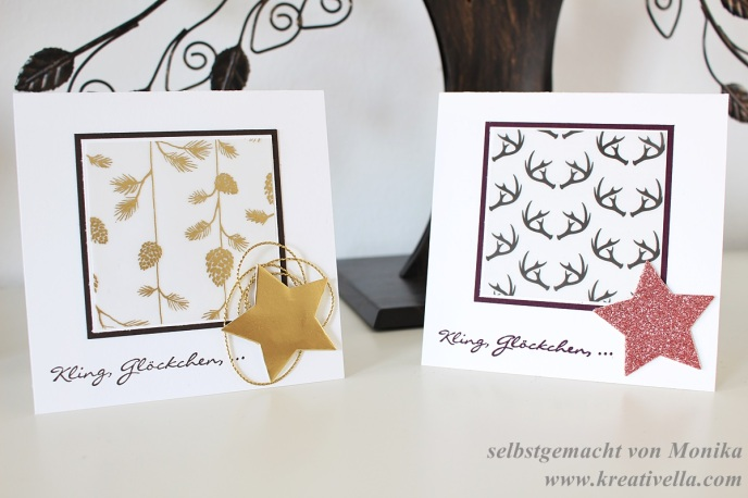 Weihnachtskarten DSPergament Wonderland Tannenzapfen Hirschgeweih Glitzerstern Kirschblüte Kling Glöckchen Clean Simple einfach selbstgemacht Stampin' Up!