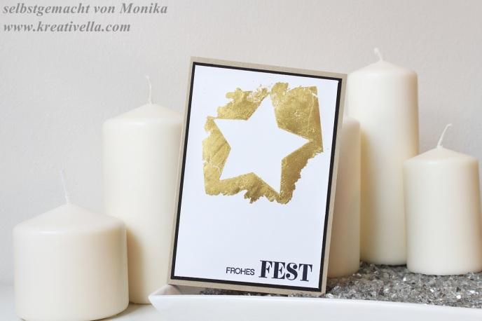 Weihnachtskarte Blattgold Look golender Stern negativ schlichte Eleganz clean simple gold schwarz heatembossing deco patch folie einfach beeindruckend Stampin' Up!