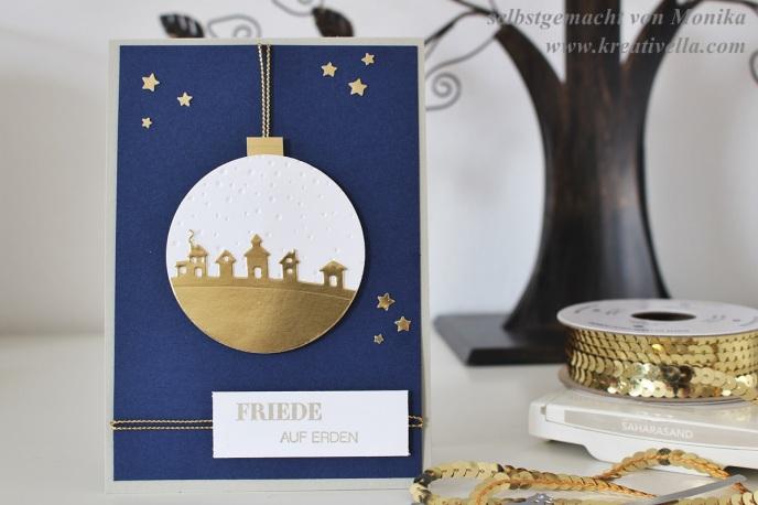 Weihnachtskarte Christmas Card Christbaumkugel Schlittenfahrt Goldfolie edel elegant klassische Farben Friede Kordel Stampin' Up! DIY selbstgemacht