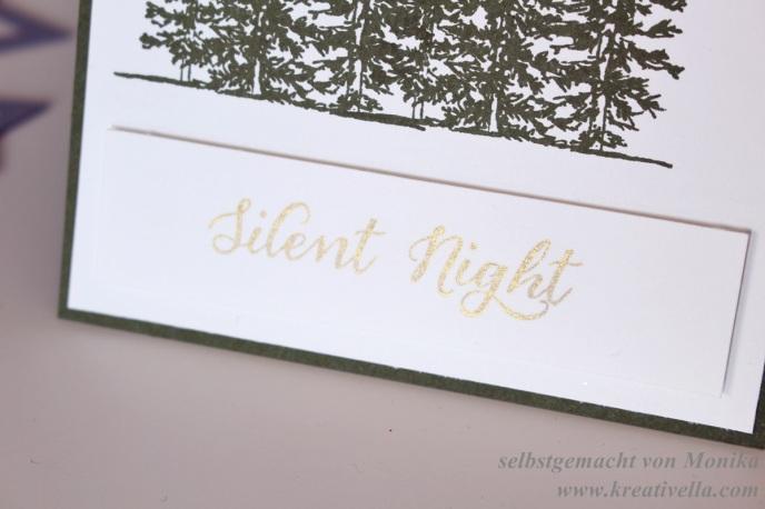 Weihnachtskarte Silent Night Stille Nacht Wonderland Winterlandschaft Bäume schlicht elegant Waldmoos Stampin' Up!