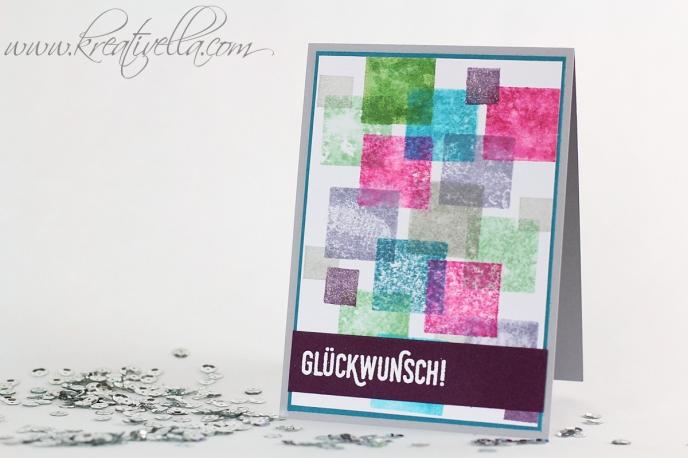 Geburtstagskarte Glückwunsch Sab Sale-a-Bration Set Paarweise bunt farbenfroh Acrylblock Quadrate männlich weiß embosst