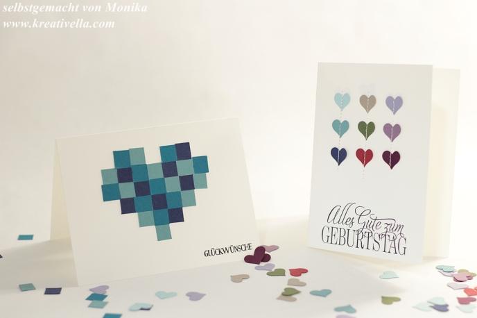 Resteverwertung Glückwunschkarten Papierschnipsel Papierreste genäht Herzchen Herz Mosaik Stampin' Up! 2016