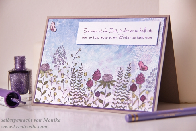 Sommerkarte Sale-a-Bration Saleabration SaB Stampin' Up! 2016 Blumenwiese Karte Frühlingserwachen Wink of stella glitzerstift witziger Spruch