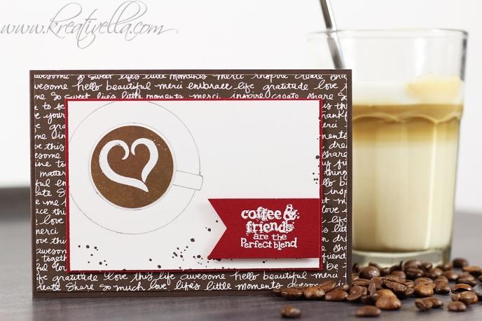 Kaffee Tasse Latte Macchiatto Cappuccino Freundchaft Perfekt Blend Aroma Friends coffee Vogelperspektive Kaffeebohnen Freundin Kaffeeklatsch Stampin Up München