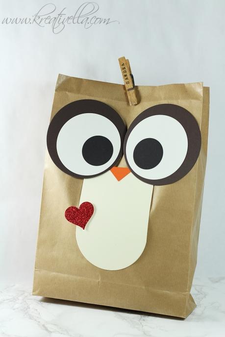 Eule Tüte Kleinigkeit Geschenk Owl Paperbag Nachteule