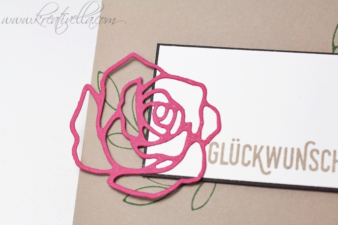 Glückwunschkarte Rose Rosengarten edel schlicht elegant romantisch Hochzeit Glitzer Wink of stella