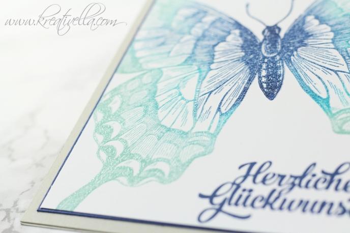 Glückwunschkarte Schmetterling Swallowtail sponged Farbverlauf edel elegant schlicht embosst clear Schimmer Grußelemente Stampin' Up! Frühling Ostern leicht fröhlich Auftakt Karte selbstgemacht