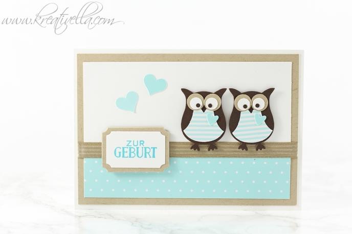 Zwillingskart Geburt Taufe Twins Mehrlinge Baby Neugeboren Schwangerschaft Karte Eulen Grußelemente Jungs boy girl Stampin' Up!