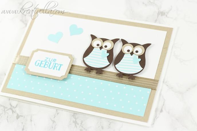Babykarte_Zwillinge_Geburt_eule_Twins_Glückwunschkarte_Mehrlinge_Nahaufnahme_Kreativella-20161